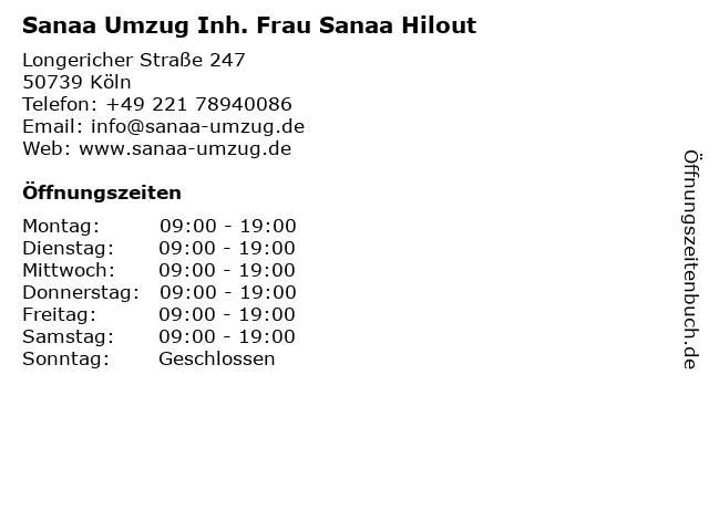 Sanaa Umzug Inh. Frau Sanaa Hilout in Köln: Adresse und Öffnungszeiten