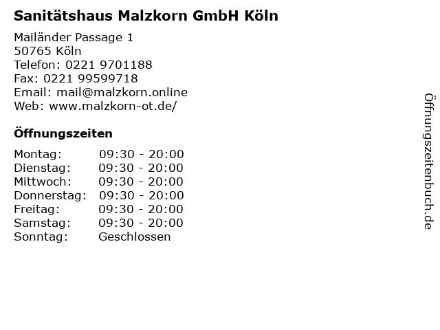 Sanitätshaus Malzkorn in Köln: Adresse und Öffnungszeiten