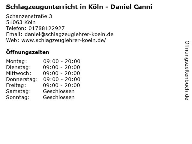 Schlagzeugunterricht in Köln - Daniel Canni in Köln: Adresse und Öffnungszeiten