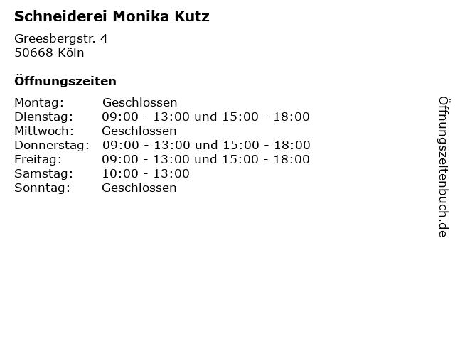 Schneiderei Monika Kutz in Köln: Adresse und Öffnungszeiten