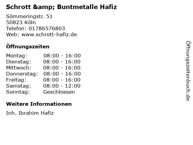 Schrott & Buntmetalle Hafiz in Köln: Adresse und Öffnungszeiten