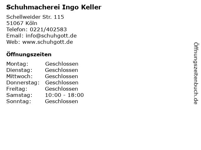 Schuhmacherei Ingo Keller in Köln: Adresse und Öffnungszeiten