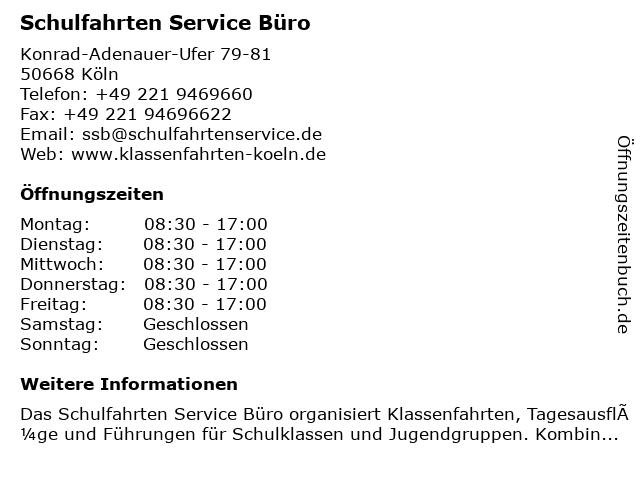 Schulfahrten Service Büro in Köln: Adresse und Öffnungszeiten