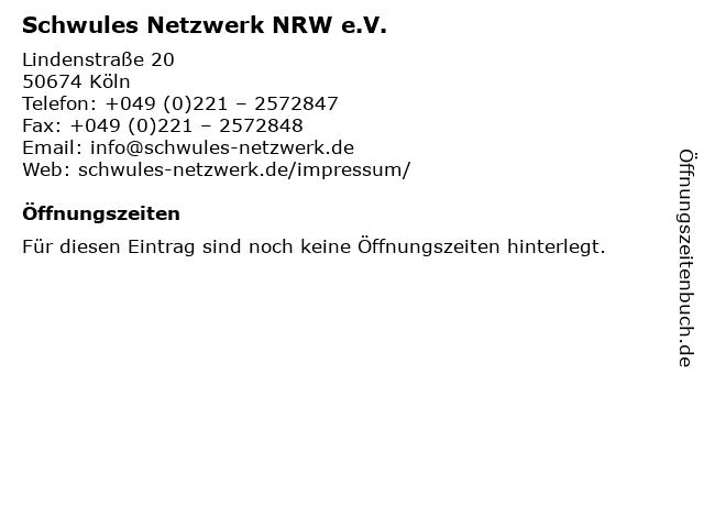 Schwules Netzwerk NRW e.V. in Köln: Adresse und Öffnungszeiten