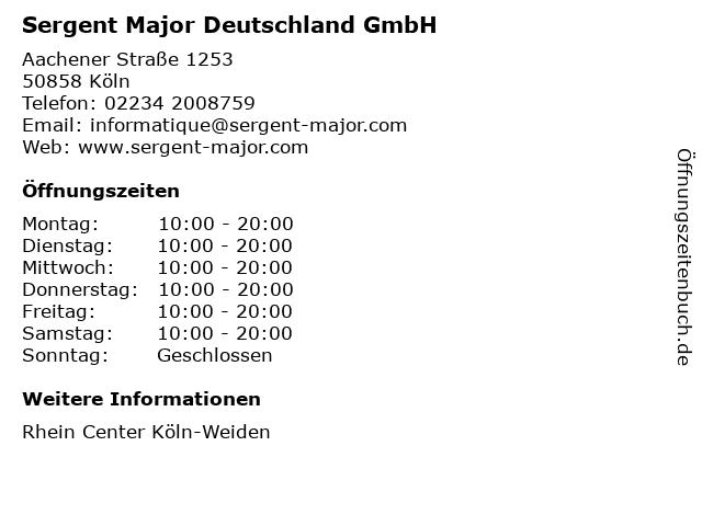 Sergent Major Deutschland GmbH in Köln: Adresse und Öffnungszeiten