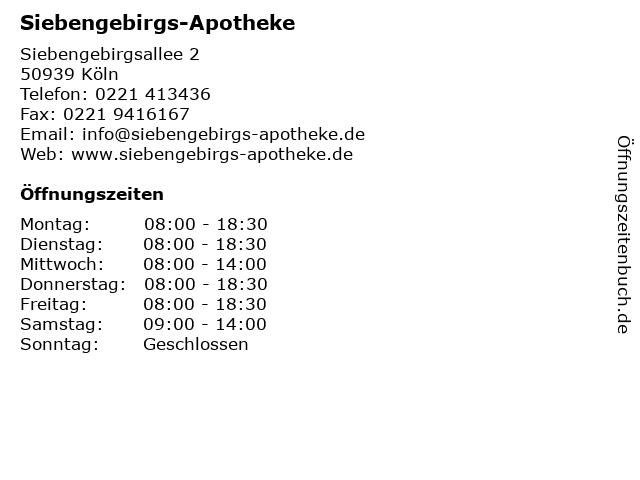 Siebengebirgs-Apotheke, Harald Latz in Köln: Adresse und Öffnungszeiten