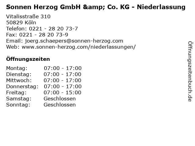 Sonnen Herzog GmbH & Co. KG - Niederlassung in Köln: Adresse und Öffnungszeiten