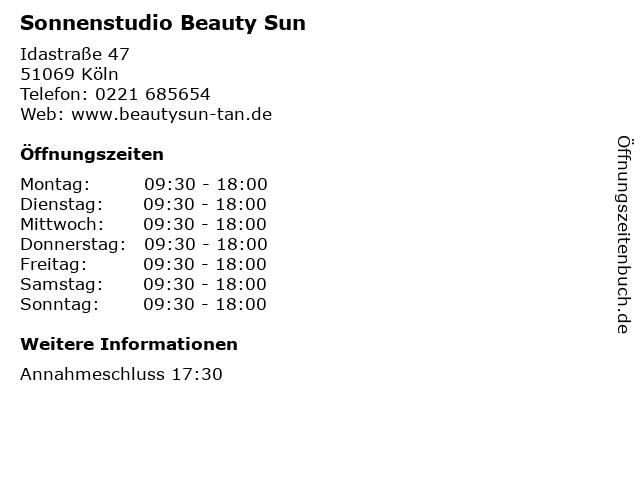 Sonnenstudio Beauty Sun in Köln: Adresse und Öffnungszeiten