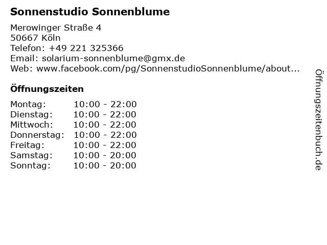 Sonnenstudio Sonnenblume in Köln: Adresse und Öffnungszeiten