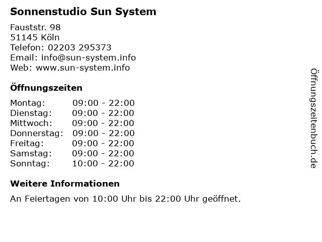 Sonnenstudio Sun System in Köln: Adresse und Öffnungszeiten