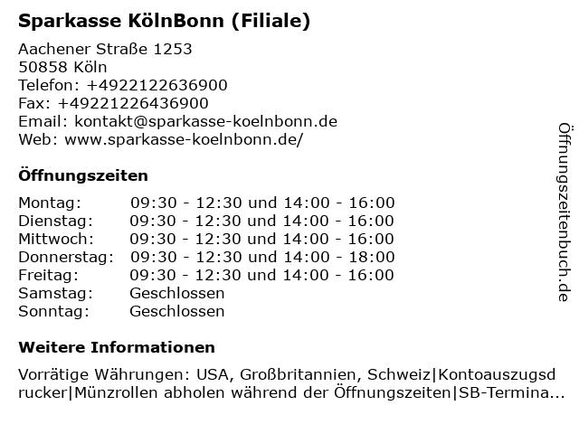 Sparkasse KölnBonn (Filiale Weiden Rhein-Center) in Köln: Adresse und Öffnungszeiten