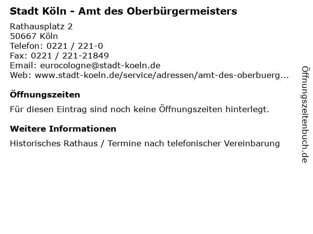 Stadt Köln - Amt des Oberbürgermeisters in Köln: Adresse und Öffnungszeiten