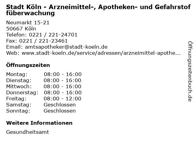 Stadt Köln - Arzneimittel-, Apotheken- und Gefahrstoffüberwachung in Köln: Adresse und Öffnungszeiten