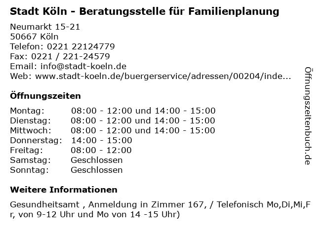 Stadt Köln - Beratungsstelle für Familienplanung in Köln: Adresse und Öffnungszeiten