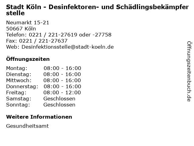 Stadt Köln - Desinfektoren- und Schädlingsbekämpferstelle in Köln: Adresse und Öffnungszeiten
