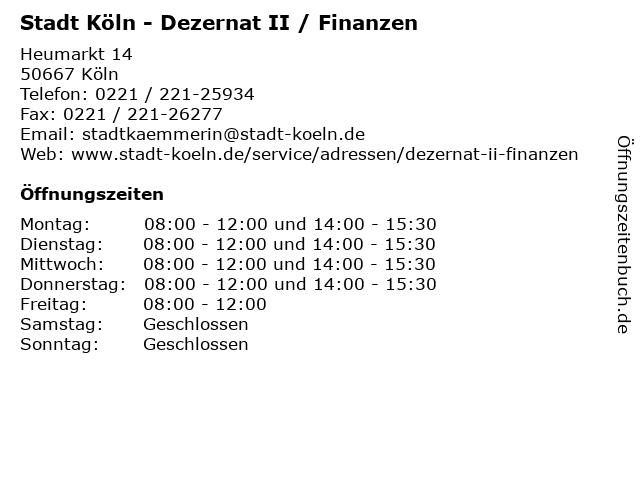 Stadt Köln - Dezernat II / Finanzen in Köln: Adresse und Öffnungszeiten