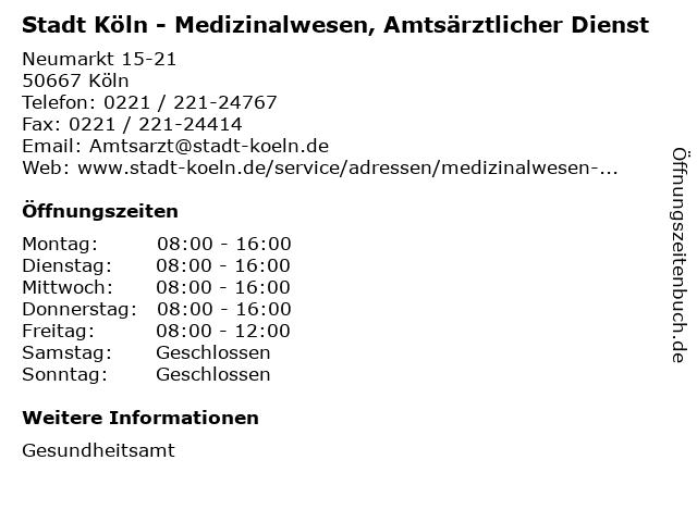 Stadt Köln - Medizinalwesen, Amtsärztlicher Dienst in Köln: Adresse und Öffnungszeiten