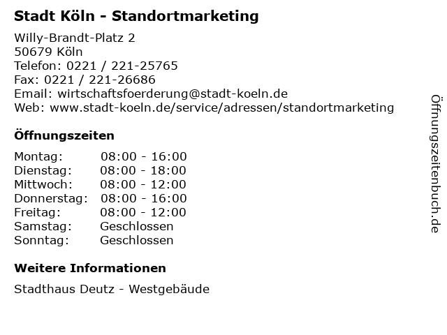 Stadt Köln - Standortmarketing in Köln: Adresse und Öffnungszeiten