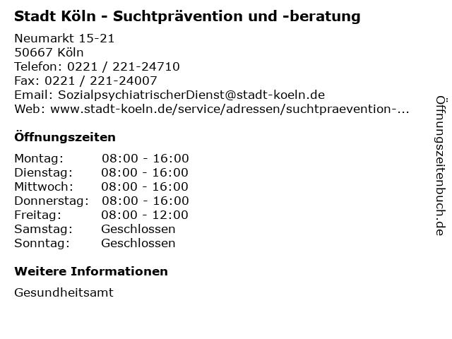Stadt Köln - Suchtprävention und -beratung in Köln: Adresse und Öffnungszeiten