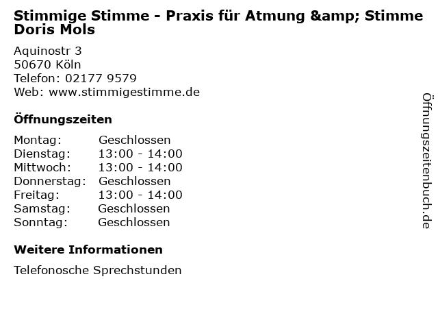 Stimmige Stimme - Praxis für Atmung & Stimme Doris Mols in Köln: Adresse und Öffnungszeiten
