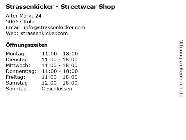 Strassenkicker - Streetwear Shop in Köln: Adresse und Öffnungszeiten