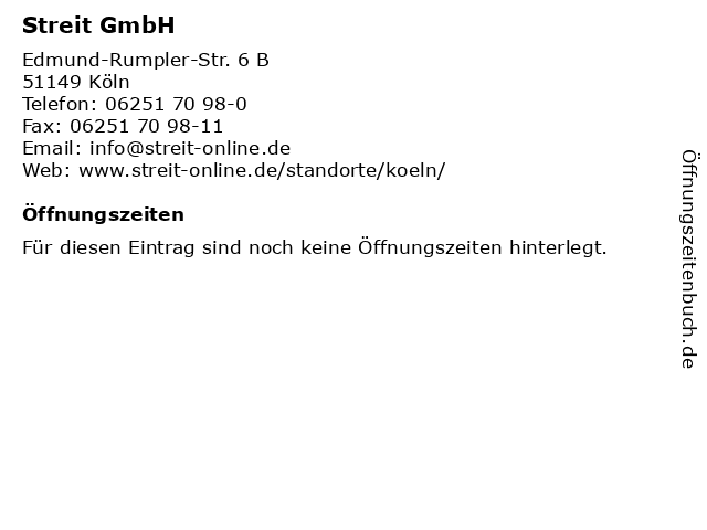 Streit GmbH in Köln: Adresse und Öffnungszeiten