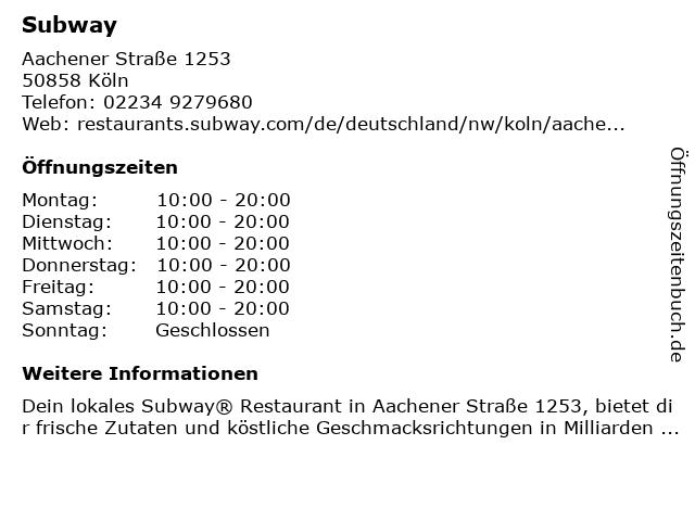 Subway in Köln: Adresse und Öffnungszeiten