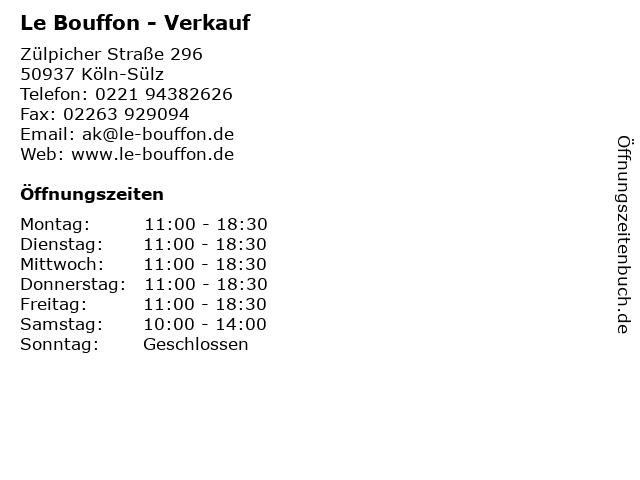 Le Bouffon - Verkauf in Köln-Sülz: Adresse und Öffnungszeiten