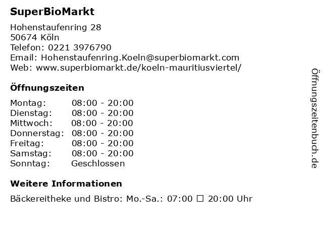 SuperBioMarkt in Köln: Adresse und Öffnungszeiten