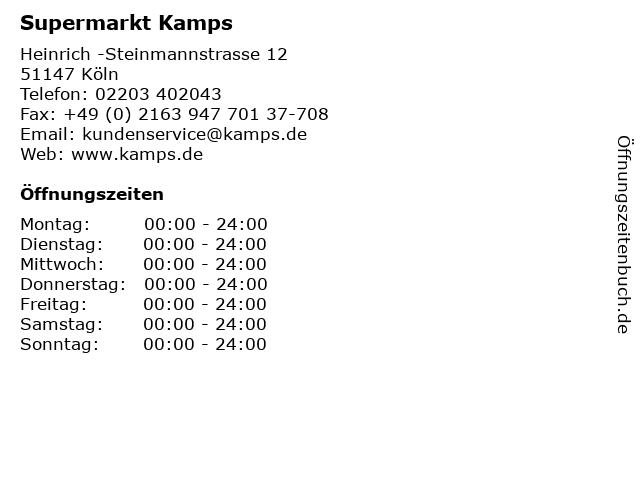Supermarkt Kamps in Köln: Adresse und Öffnungszeiten