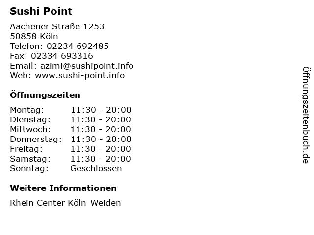 Sushi Point in Köln: Adresse und Öffnungszeiten