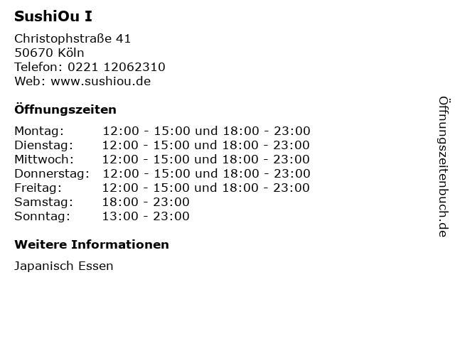 SushiOu I in Köln: Adresse und Öffnungszeiten