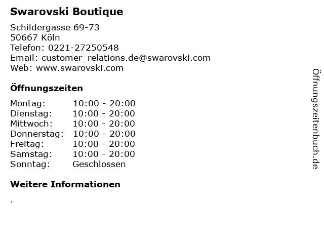 Swarovski Boutique in Köln: Adresse und Öffnungszeiten