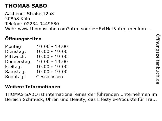 Thomas Sabo in Köln: Adresse und Öffnungszeiten