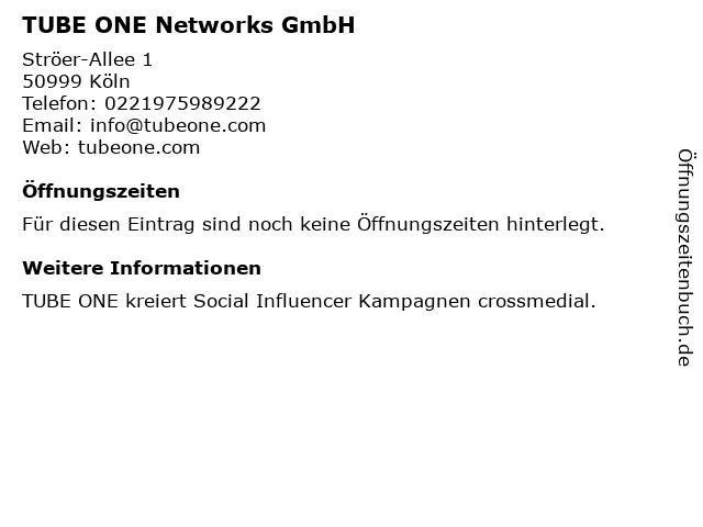 TUBE ONE Networks GmbH in Köln: Adresse und Öffnungszeiten