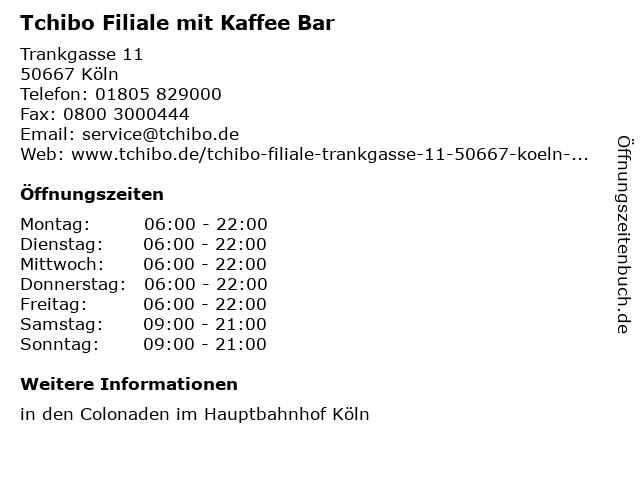 Tchibo Filiale mit Kaffee Bar in Köln: Adresse und Öffnungszeiten