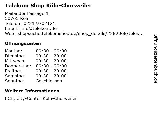 Telekom Shop Köln-Chorweiler in Köln: Adresse und Öffnungszeiten