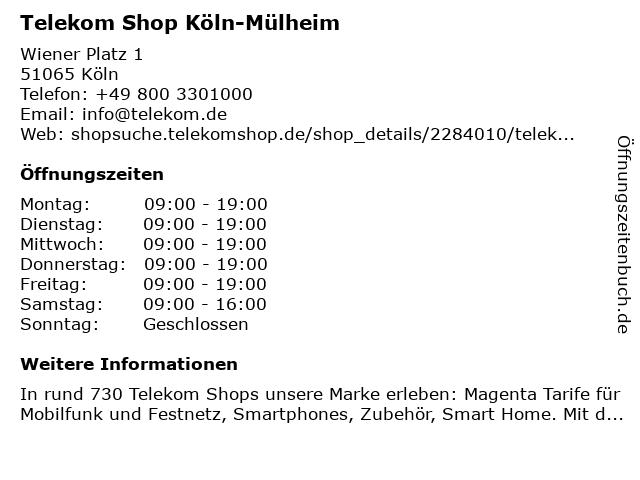 Telekom Shop Köln-Mülheim in Köln: Adresse und Öffnungszeiten