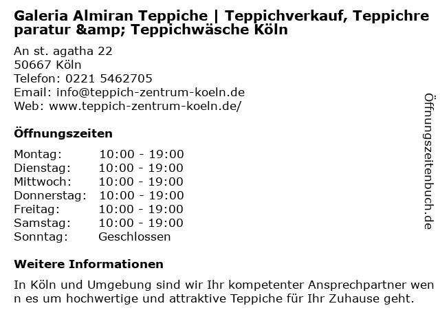 Galerie Almiran Teppiche bei Kaufhof Köln in Köln: Adresse und Öffnungszeiten