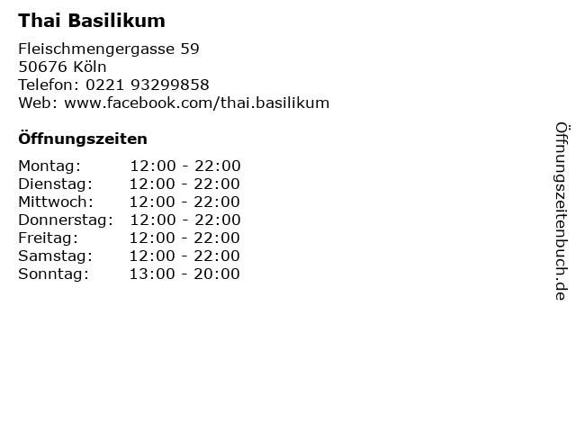 Thai Basilikum in Köln: Adresse und Öffnungszeiten