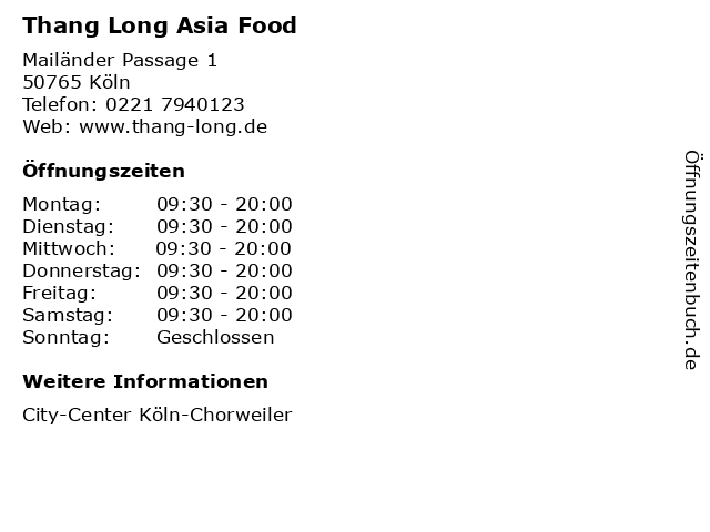 Thang Long Asia Food in Köln: Adresse und Öffnungszeiten