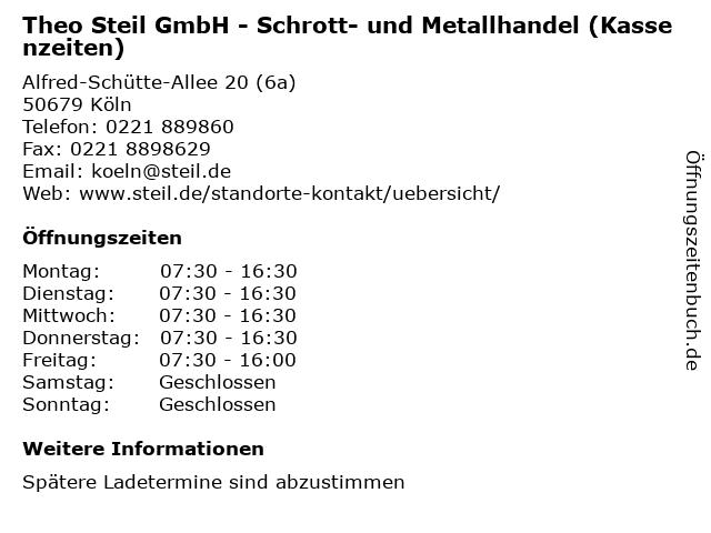 Theo Steil GmbH - Schrott- und Metallhandel (Kassenzeiten) in Köln: Adresse und Öffnungszeiten