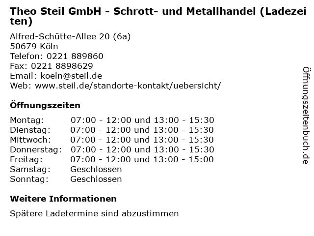 Theo Steil GmbH - Schrott- und Metallhandel (Ladezeiten) in Köln: Adresse und Öffnungszeiten