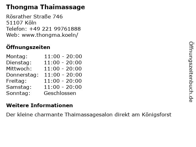Thongma Thaimassage in Köln: Adresse und Öffnungszeiten