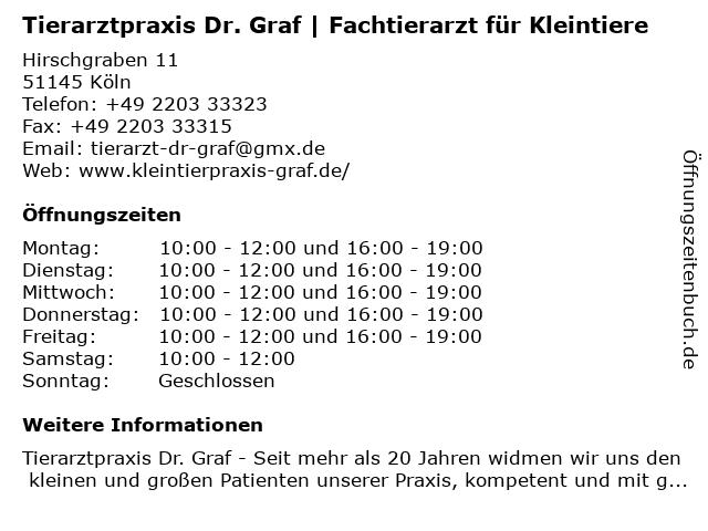 Tierarztpraxis Dr. Graf in Köln: Adresse und Öffnungszeiten