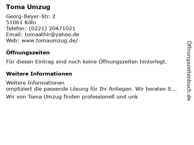 Toma Umzug in Köln: Adresse und Öffnungszeiten