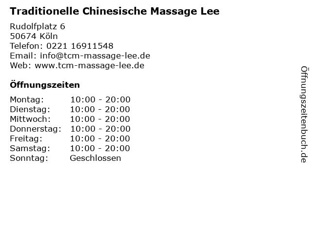 Traditionelle Chinesische Massage Lee in Köln: Adresse und Öffnungszeiten