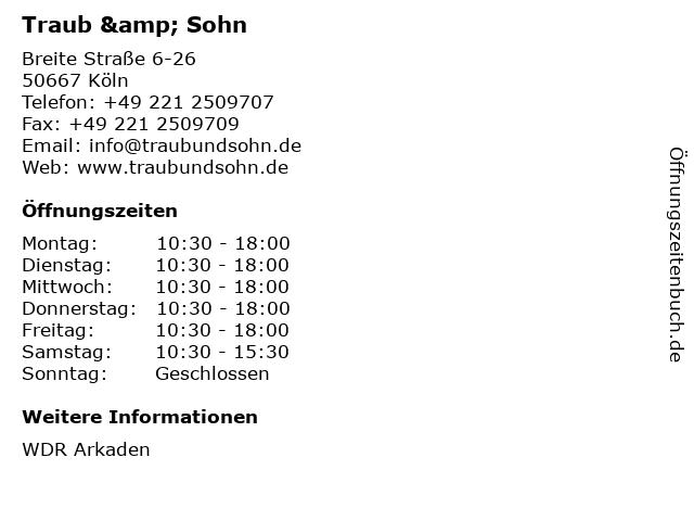 Juwelier Traub & Sohn in Köln: Adresse und Öffnungszeiten