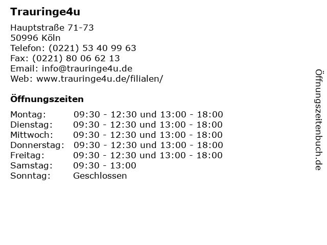 Trauringe4u in Köln: Adresse und Öffnungszeiten