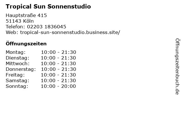 Tropical Sun Sonnenstudio in Köln: Adresse und Öffnungszeiten